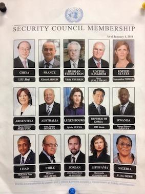 The 15 #UN Security Council ambassadors for 2014. Five female ambassadors on council for first time ever.