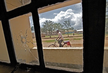 A bullet hole in the window of a district security office in Kaabong town serves as a reminder of Karamoja's (Uganda) recent and more insecure past. © Khristopher Carlson/Courtesy of IRIN www.irinnews.org