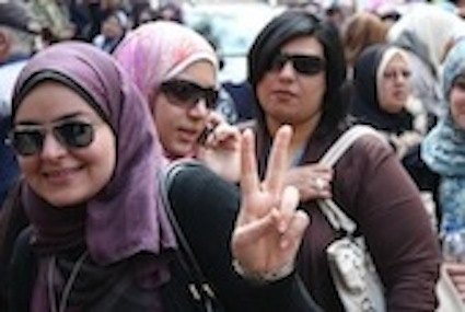 Egyptian women line up to vote in the first free and fair parliamentary elections in November 2011, Cairo, Egypt  © Heba Aly/courtesy of IRIN www.irinnews.org